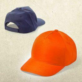 dos gorras personalizadas, una de color naranja y la otra de color azul marino.