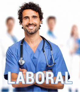 """trabajador con ropa de trabajo personalizada con la palabra """"laboral"""""""